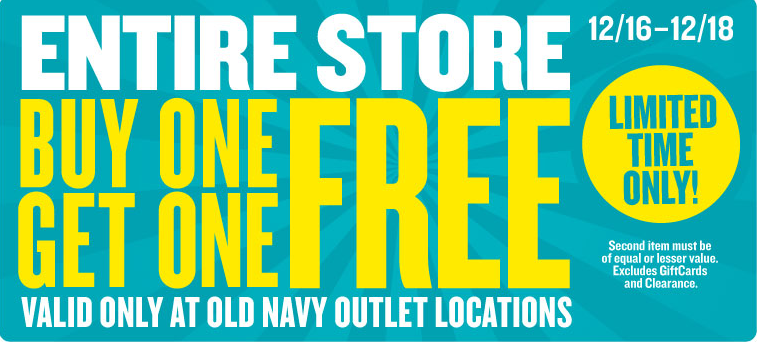 Details: Save $15 Off $50+ at Old Navy. In-store only. In-store only. Plus s of styles from $5, $5 tees for the Fam, $10 Kids Jeans, $15 Women's Dresses, $20 Adults Pants.
