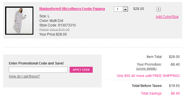 How to use a Maidenform coupon If you need a bra, you can get one at a reduced price at Maidenform. You can save 20% or more on your order. Coupons are located on the website that give you additional savings. Free shipping is offered on orders that total $75 or more.