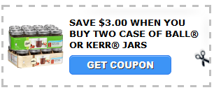 ... new SAVE $3.00 WHEN YOU BUY TWO CASE OF BALL® OR KERR® JARS coupon